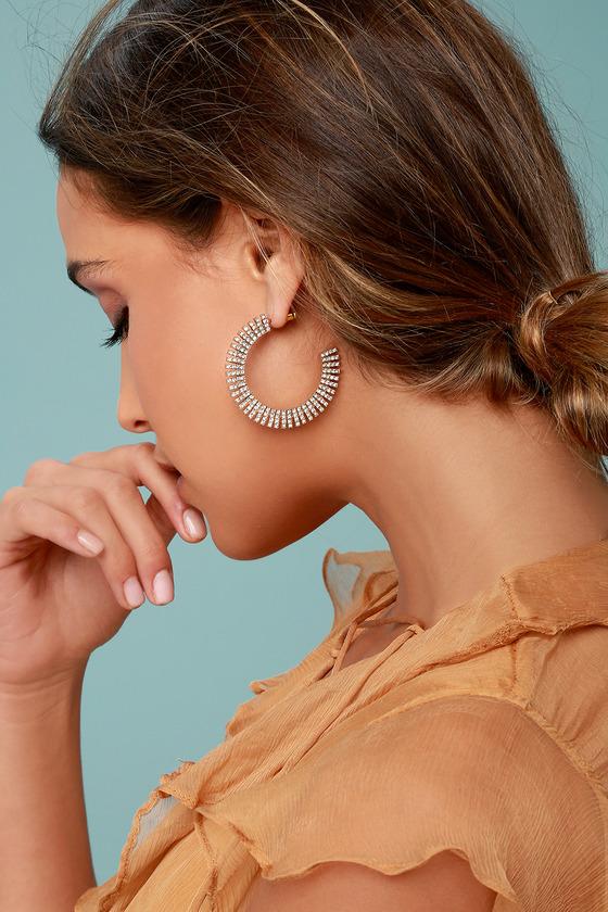 Glamorous Life Gold Rhinestone Hoop Earrings 2