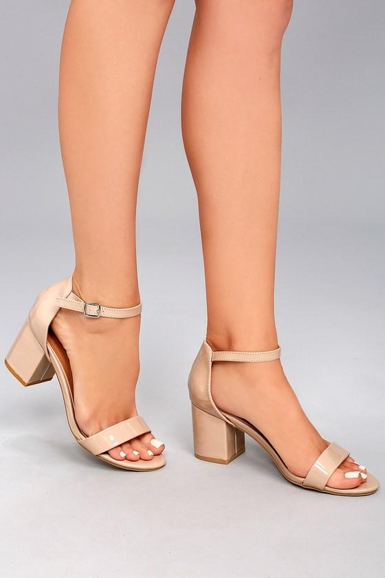 Cute Patent Heels - Nude Heels - Ankle Strap Heels