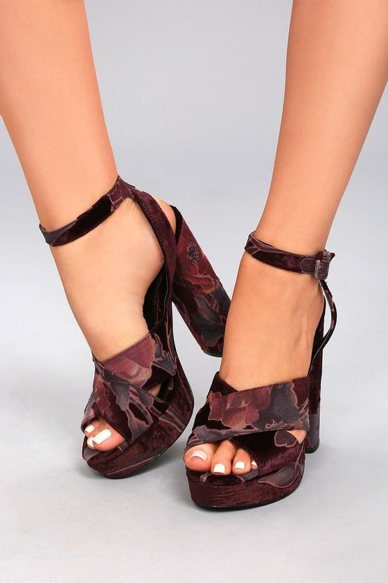 cf3f3e76373 Steve Madden Jodi Burgundy Velvet Platform Ankle Strap Heels