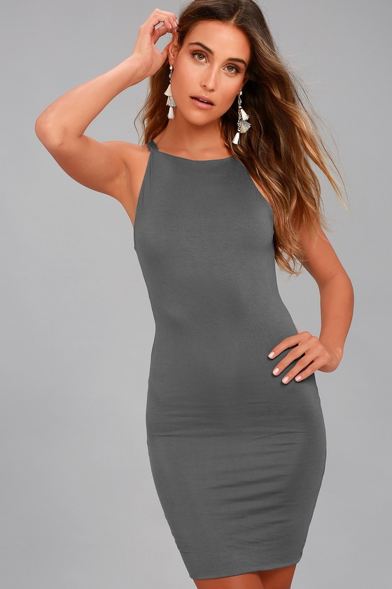 I Bet Charcoal Grey Bodycon Dress 6