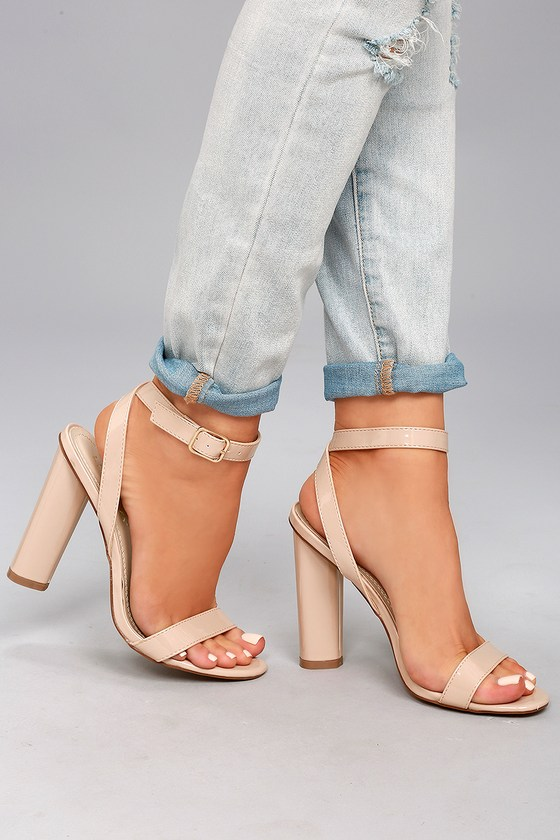 Raine Nude Patent Ankle Strap Heels 1