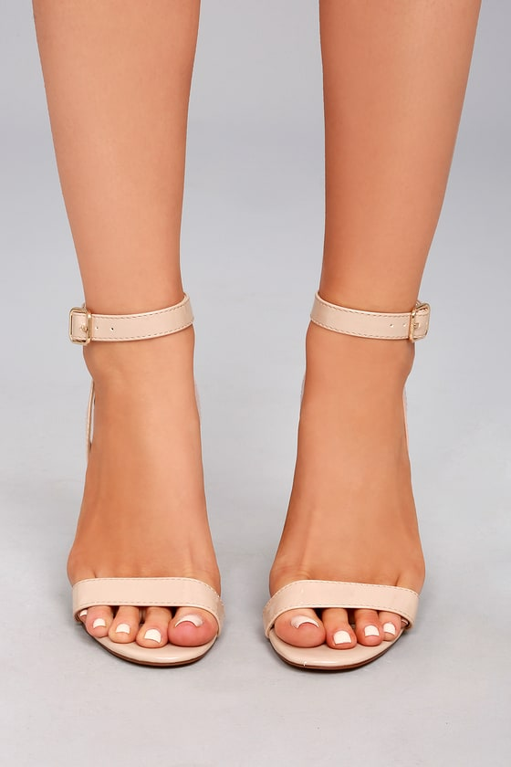 Nude Patent Block Heel Sandal With Ankle Buckle - Chic | YDE