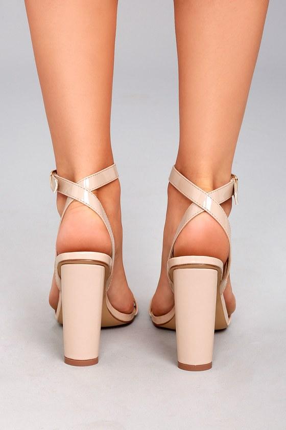 Chic Nude Heels - Vegan Nubuck Heels - Beaded Heels