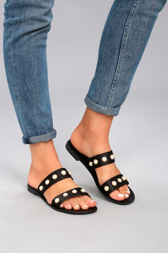 1cf2d3790b42 Cute Slide Sandals - Pearl Sandals - Black Sandals