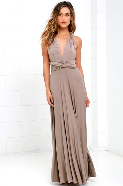 K'Mich Weddings - wedding planning - bridesmaids dresses - TAUPE MAXI DRESS - lulus