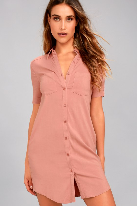 thoughts on great look on sale Cute Blush Dress - Shirt Dress - Button-Up Dress - Collared Dress ...
