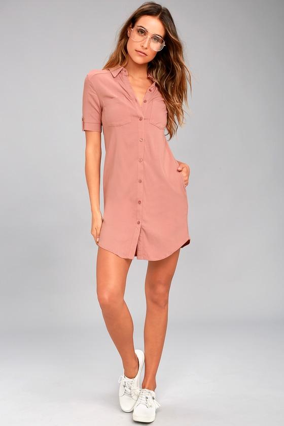 99581078fade Cute Blush Dress - Shirt Dress - Button-Up Dress - Collared Dress ...