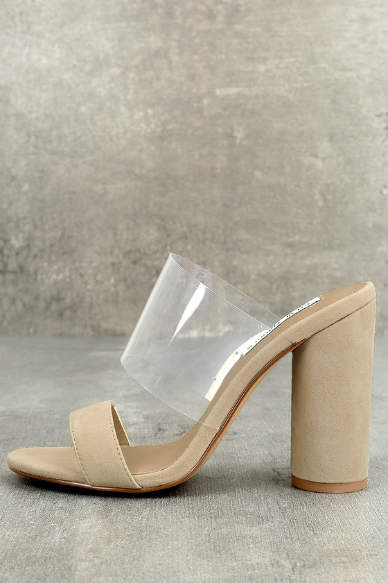 d4a67ab1738f Steve Madden Cheers Tan Suede Leather High Heel Sandals