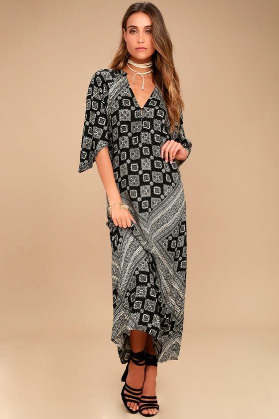 Amuse Society Scorpio Black Print Maxi Dress 1