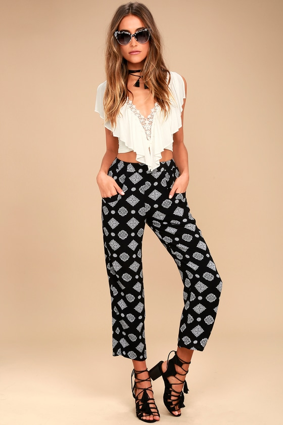 Amuse Society Berlin Black Print Pants 1