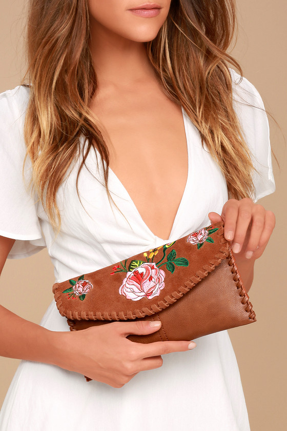 Wildflower Meadow Brown Suede Leather Embroidered Clutch