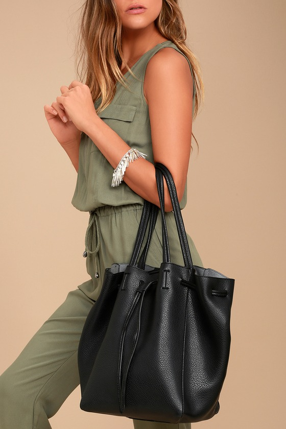 Lulus - So Classic Black Drawstring Bucket Bag - Vegan Friendly