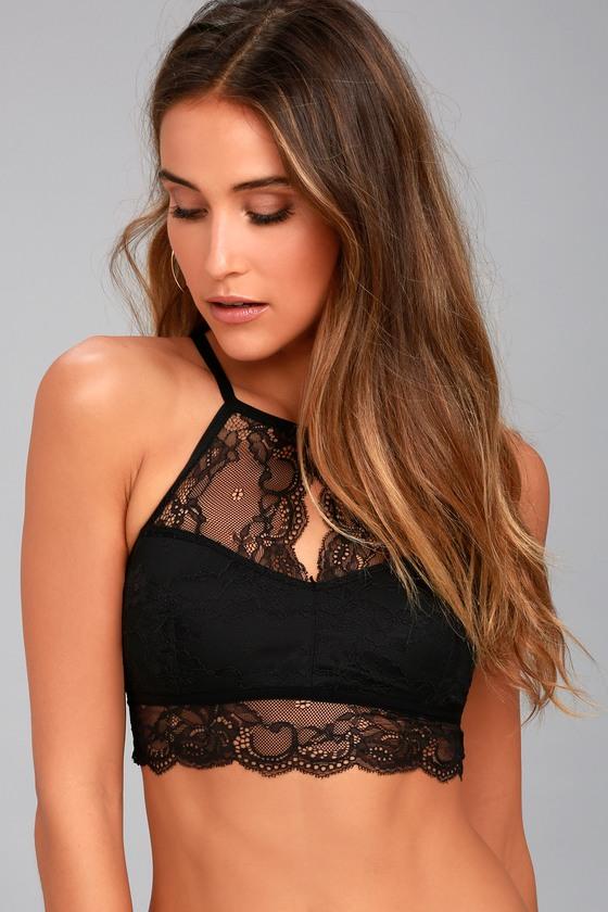 15def5bbd1ce7f Sexy Black Lace Bralette - Lace Bra - High-Neck Bralette