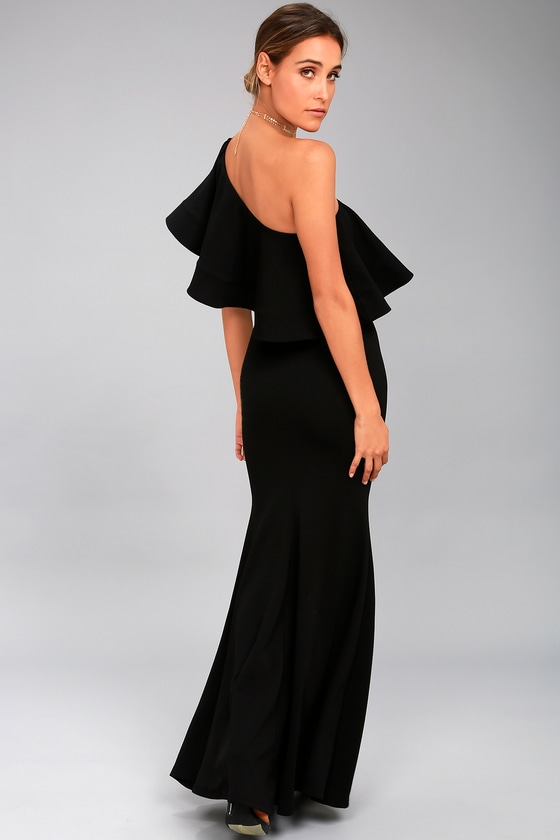 a4e6c9898ffa Lovely Black Dress - One-Shoulder Dress - Maxi Dress