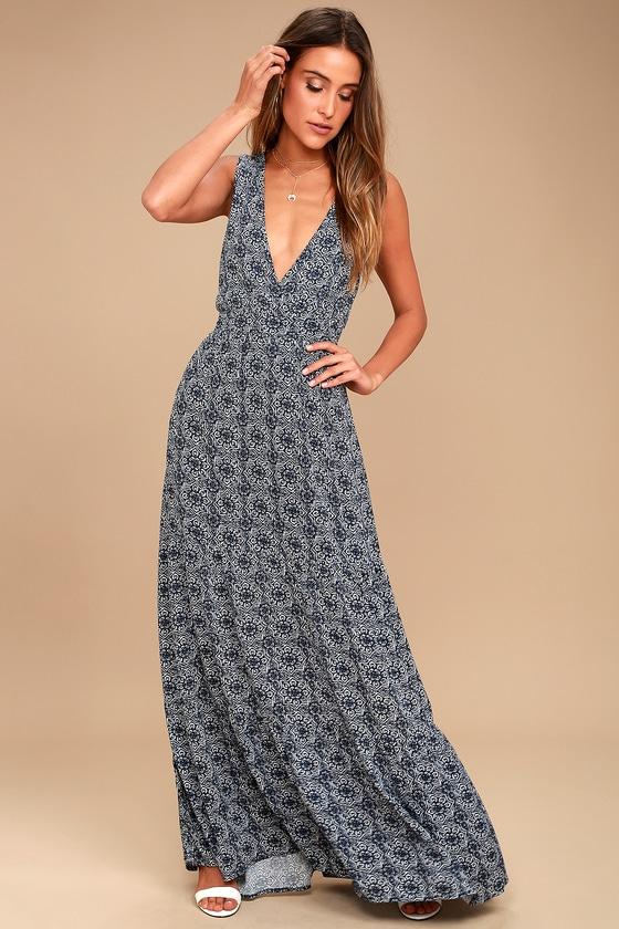 0458ce203c37 Boho Navy Blue Print Dress - Maxi Dress - Tiered Maxi - Sleeveless Maxi -  $59.00