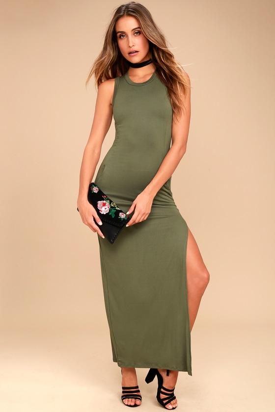 83bb5ac4604 Olive Green Dress - Maxi Dress - Sleeveless Dress - $40.00