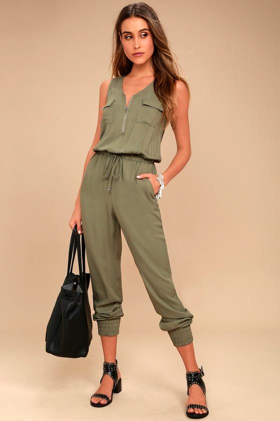 Olive & Oak Scarlett Olive Green Jumpsuit 1