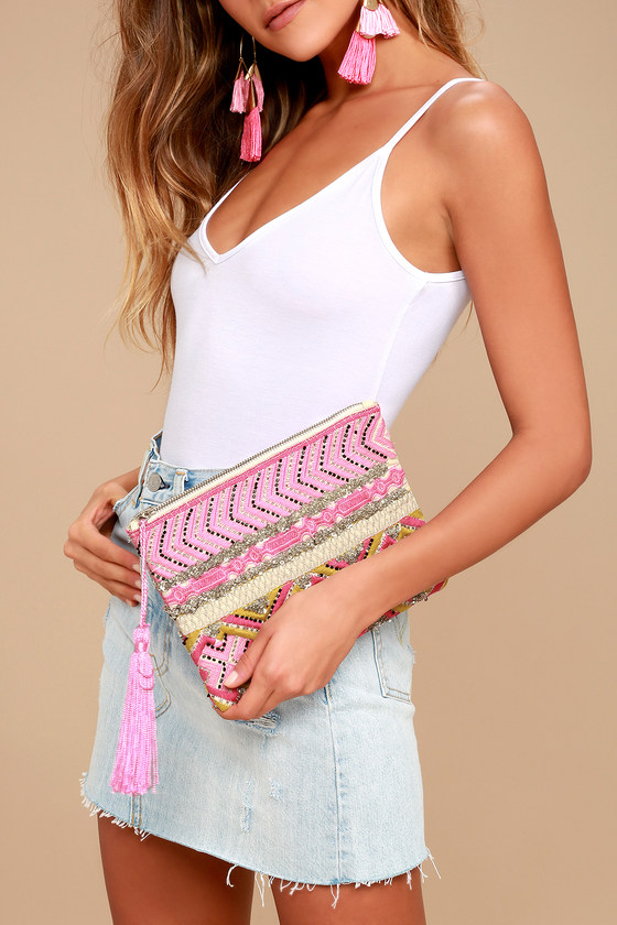 Bucolic Setting Pink Embroidered Clutch 1