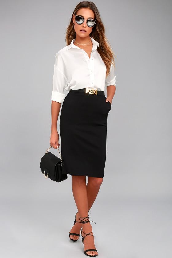 83d4ef7c9e18 Chic Black Skirt - Bodycon Skirt - Midi Skirt - Pencil Skirt