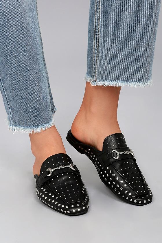 63667b53a45 Steve by Steve Madden Razzi - Studded Slides - Black Loafers