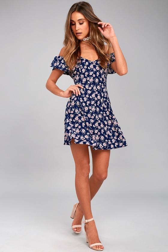 17ac123c7d91c Cute Navy Blue Floral Print Dress - Off-the-Shoulder Dress