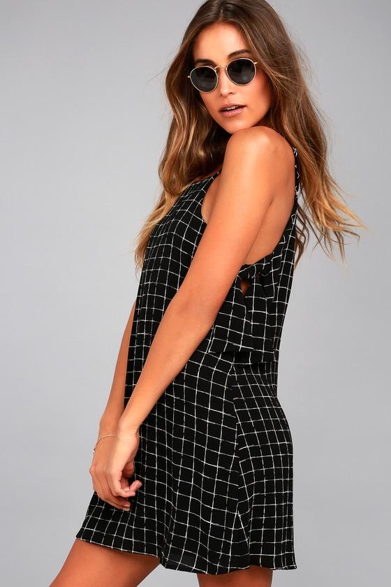 Style Points Black Grid Print Swing Dress 5