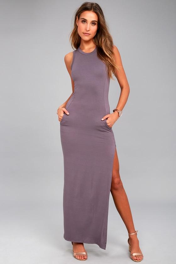 Shield and Sword Dusty Purple Sleeveless Maxi Dress 8