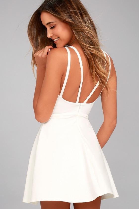 7442c14f41 Chic White Dress - Skater Dress - Sleeveless Dress