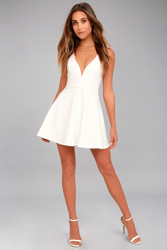 51eb7b4133 Chic White Dress - Skater Dress - Sleeveless Dress