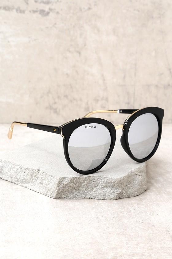 c3387215d7f Perverse Luxe Sunglasses - Trendy Black Sunglasses - Silver Mirrored ...