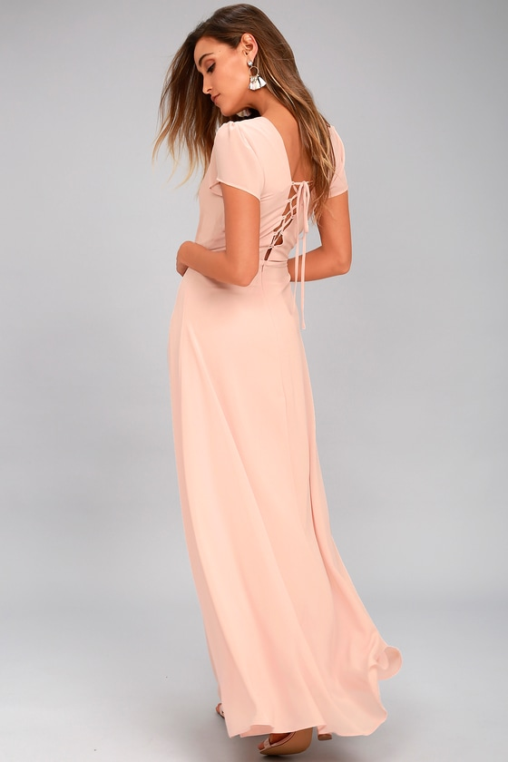 World on a String Blush Lace-Up Maxi Dress 2