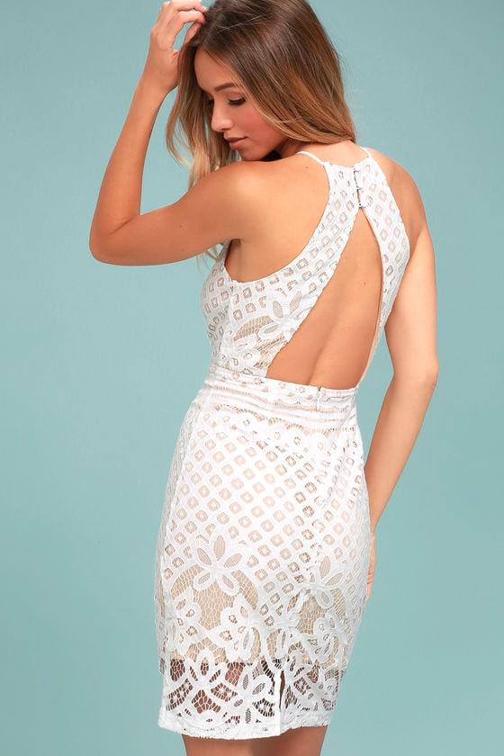 6b7cce42f475 Lovely White Dress - Lace Dress - Sheath Dress - White Lace Dress