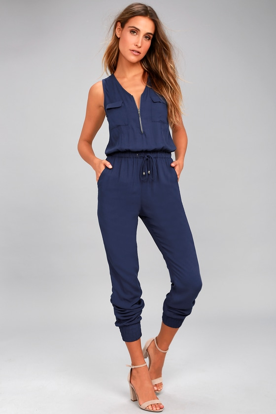 Olive & Oak Scarlett Navy Blue Jumpsuit 1