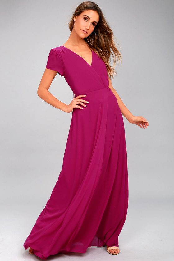 World on a String Magenta Lace-Up Maxi Dress 1