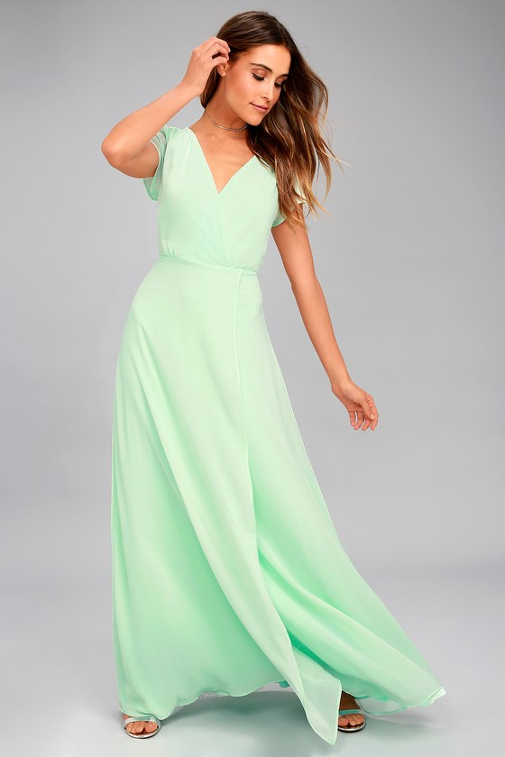 World on a String Mint Green Lace-Up Maxi Dress 1