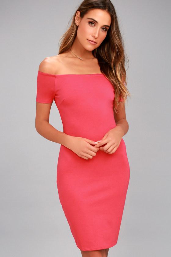 a5148f4c08ba Sexy Fuchsia Dress - Off-the-Shoulder Dress - Bodycon Dress -  49.00