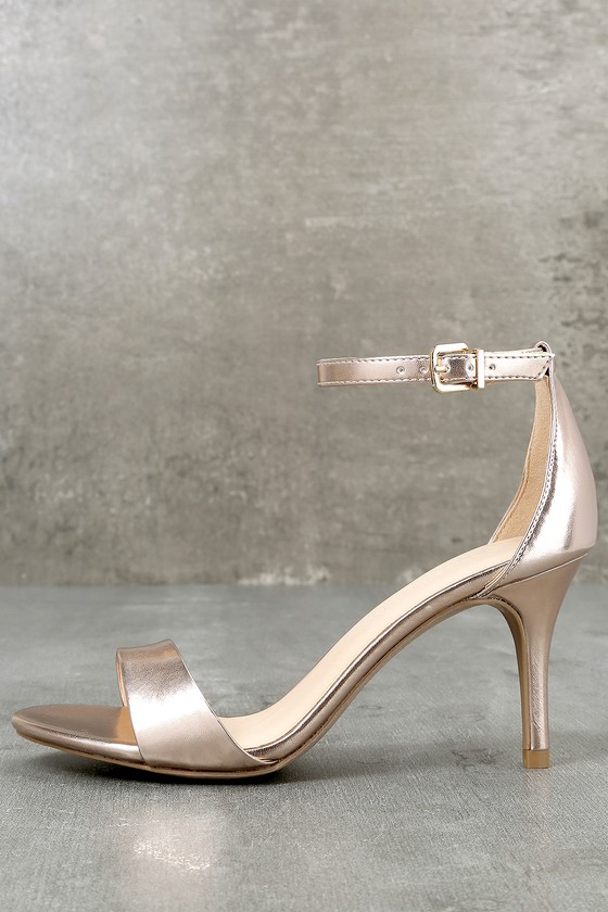 Lover Rose Gold Ankle Strap Heels 2