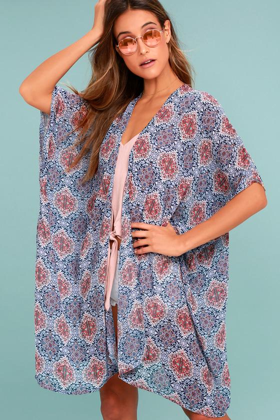 Boho Kimono - Blue Print Kimono Top - Open Front Kimono