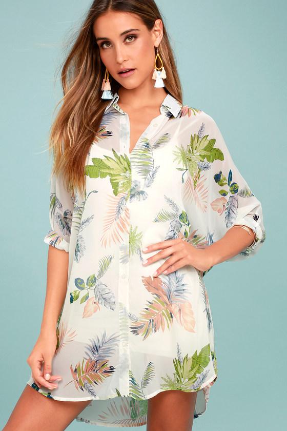 In the Tropics Sheer White Tropical Print Shirt Dress 1