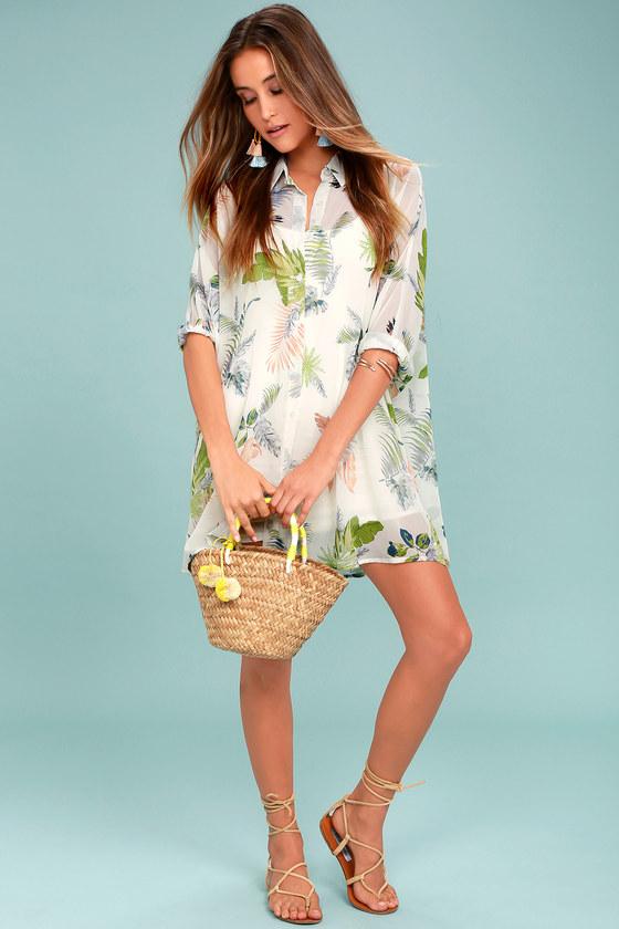 7bda1634864d8 In the Tropics Sheer White Tropical Print Shirt Dress