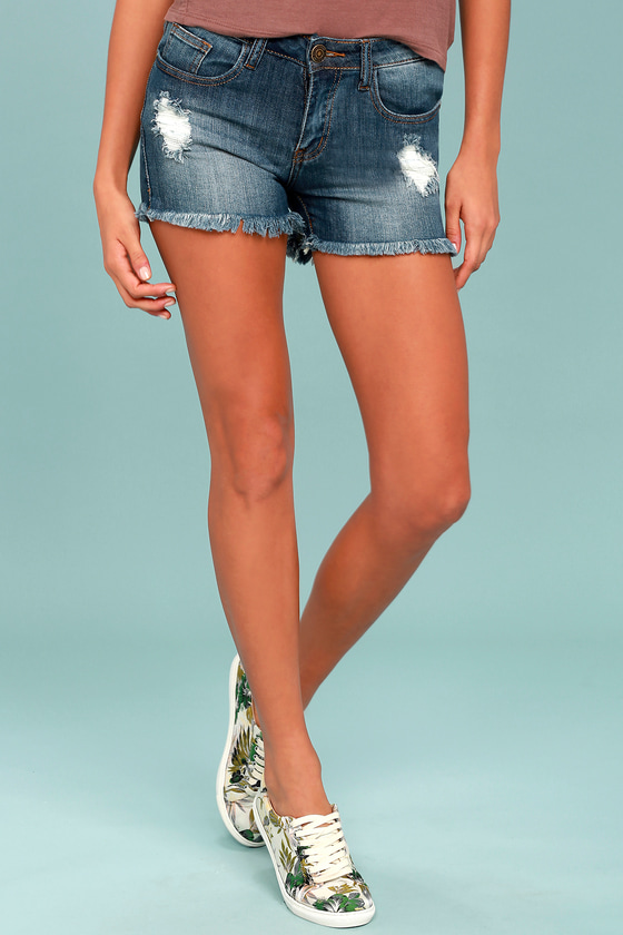 Trailblazer Medium Wash Distressed Cutoff Denim Shorts 1