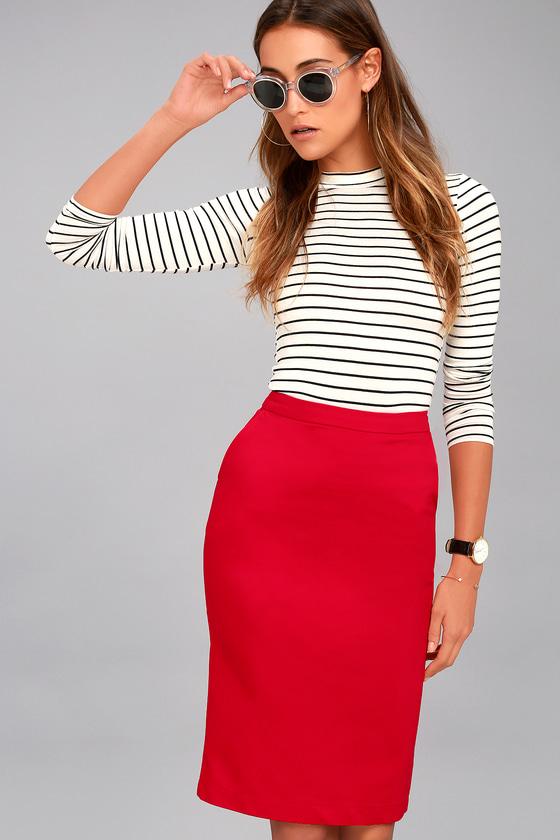 Daily Wonder Red Bodycon Midi Skirt 1
