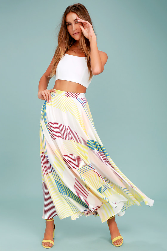 c16443d3de White Striped Skirt - Print Maxi Skirt - Colorful Skirt