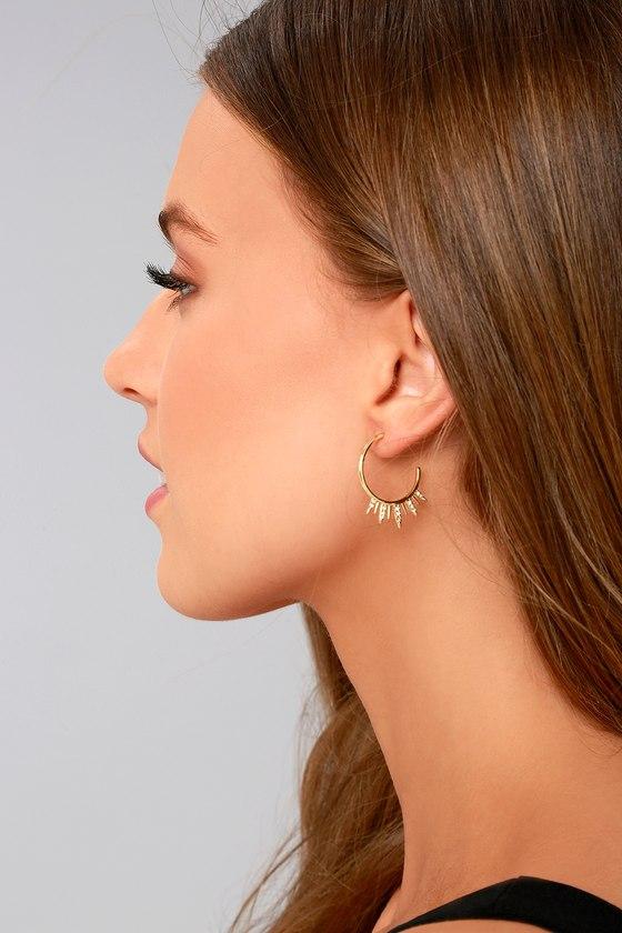 Shashi Lola Gold Rhinestone Hoop Earrings 3