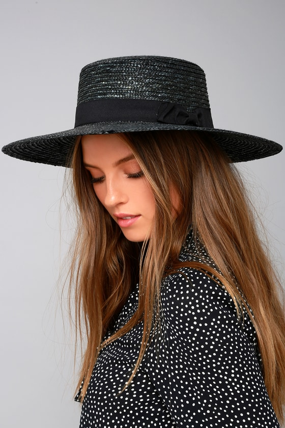 b86e8e8cdbbfe Cute Straw Hat - Black Sunhat - Straw Wide Brim Hat -  18.00