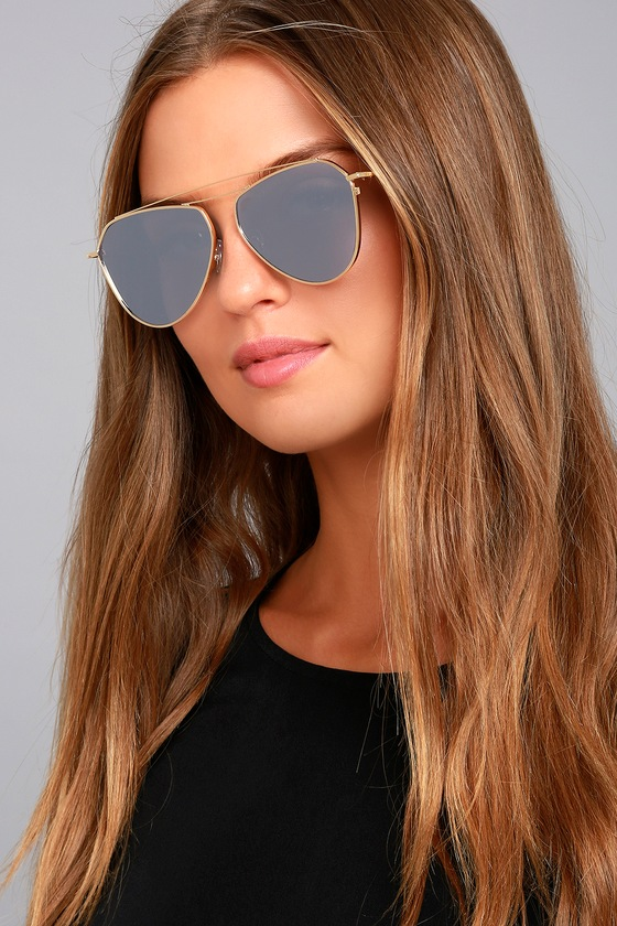 Keep Dancing Gold and Grey Mirrored Aviator Sunglasses 1