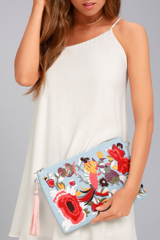 Fly Away Light Blue Embroidered Clutch 4