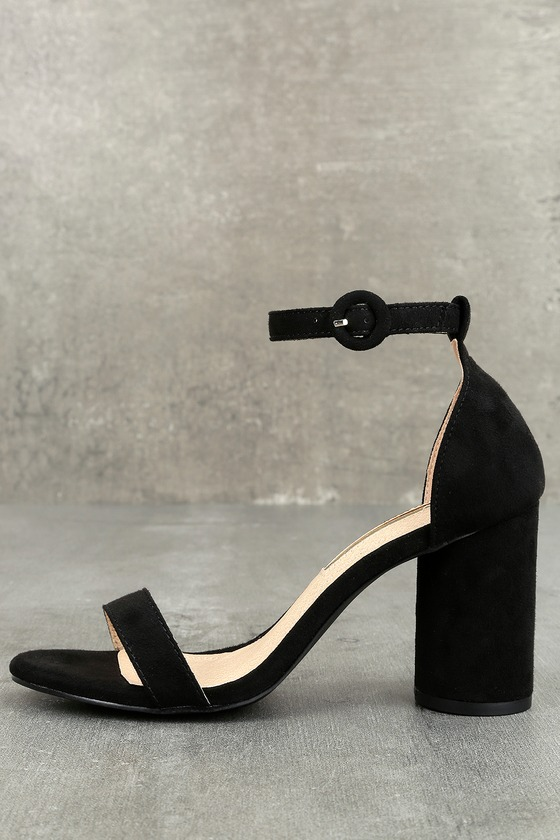 Audrina Black Suede Ankle Strap Heels 1