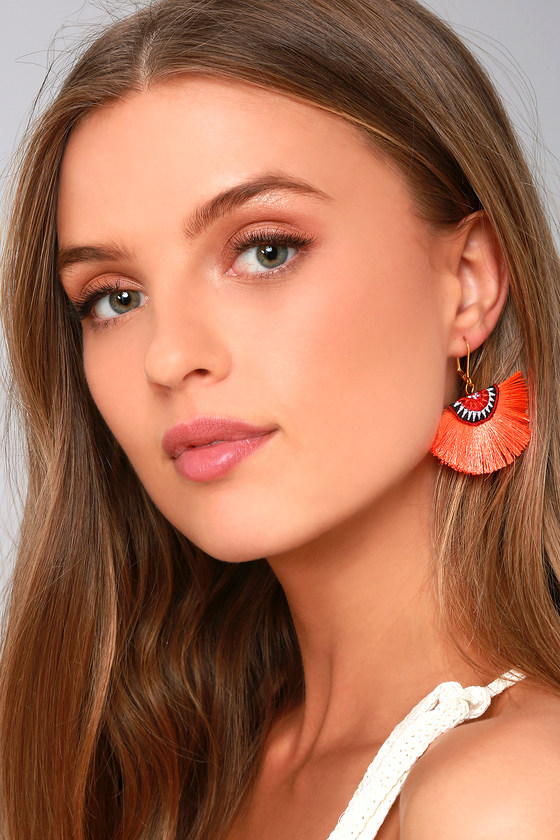 Shashi Shannon Coral Orange Earrings 3