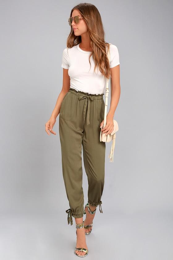 ed81bd83b20a Chic Olive Green Pants - Casual Pants - Drawstring Pants